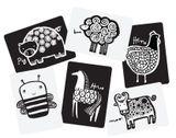 Veľké kartónové kartičky s čiernobielym motívom zvieratiek pre rozvoj dieťaťa. V balení je 6 ks kartičiek s motívom: sliepka, kôň, včela, prasiatko, krava, ovca.