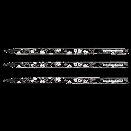 Čierne ceruzky vintage kvety Design Letters - 5ks