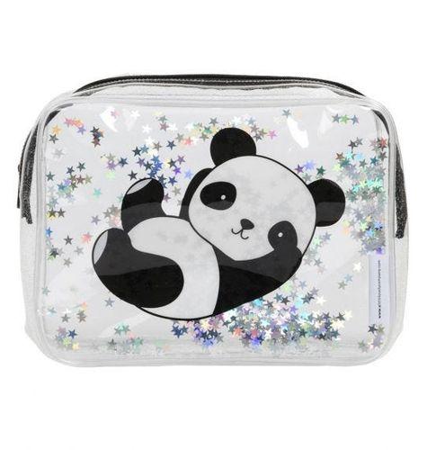 Detská toaletná taštička s trblietkami - panda