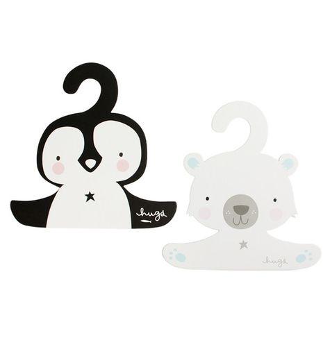 Detské vešiaky A Little Lovely Company - tučniak a ľadový medveď