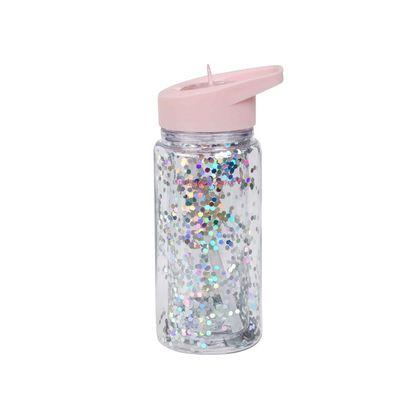Detská fľaša s trblietkami - ružová