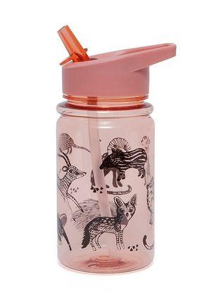 Detská fľaša so slamkou Petit Monkey - ružová