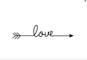 Samolepka na stenu - šíp Love