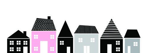 Samolepka domčeky - farebná sada