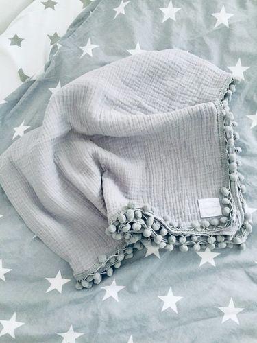 Veľká mušelínová deko-osuška - šedá